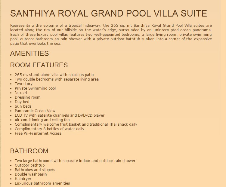 SeCeTravel-SANTHIYA ROYAL GRAND POOL VILL SUITE DETAILS